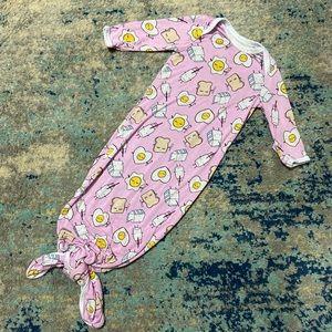 Little sleepies newborn baby tie bottom gown pink
